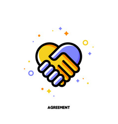 Icon of handshake as agreement symbol for law vector