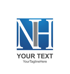 initial letter nh logo template colored blue vector image