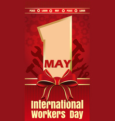 International workers day card vector