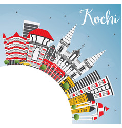 Kochi india city skyline with color buildings vector