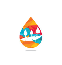 landscape drop water design logo vector image