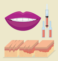 layers of skin with botox injection vector image