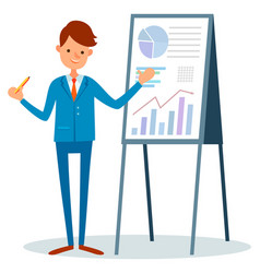 male with pointer presenting report isolated man vector image