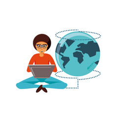 man sitting with laptop and planet earth vector image