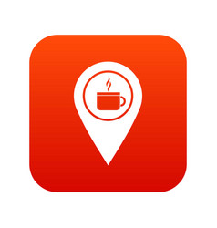 map pin location with tea or coffee cup sign icon vector image