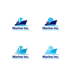 Marine logistic company logo set vector