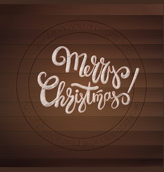 Merry christmas stamp with calligraphic text on vector
