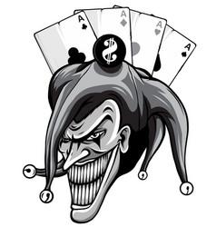 Monochromatic joker angry jester in cap vector
