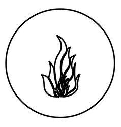 monochrome contour circular frame with flame icon vector image