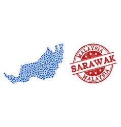 Mosaic map of malaysian sarawak with linked vector
