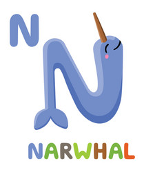n is for narwhal letter n narwhal cute animal vector image