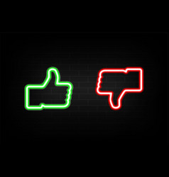 neon like and dislike icons on background brick vector image