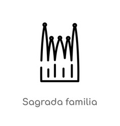 Outline sagrada familia building icon isolated vector