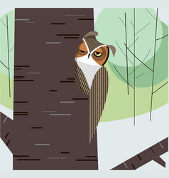 Owl dozes in the hollow of a tree trunk vector