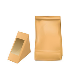 Paper bag and triangle packaging box for sandwich vector