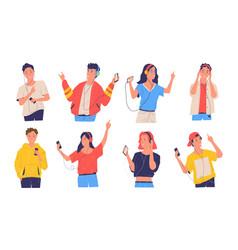 People listen music cartoon happy teenagers with vector