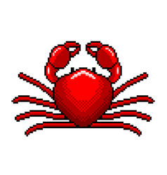 pixel art red crab detailed isolated vector image