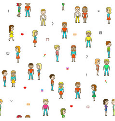 Pixel people a lot people on a white field vector