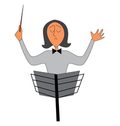 Portrait an orchestra conductor on white vector