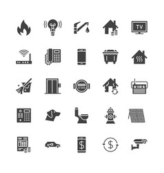 Public utilities flat glyph icons rent receipt vector