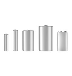 Realistic white alkaline batteriy icon set vector