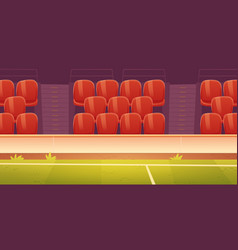 red plastic seats on sport stadium tribune vector image