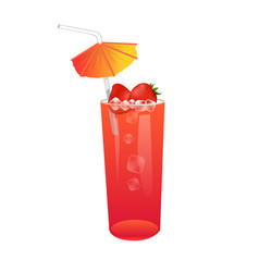 Refreshing summer cocktail with strawberry vector
