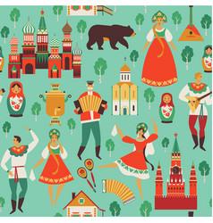 russian sights and folk art flat design vector image