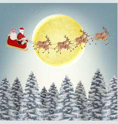 santa claus reindeer on christmas winter forest vector image