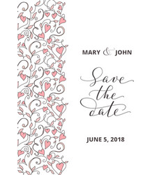 save date card with hearts pattern background vector image