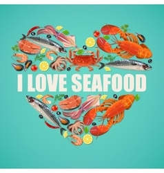 Seafood on blue background vector image