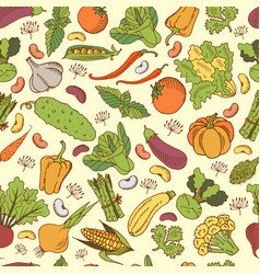 seamless background with vegetables vector image