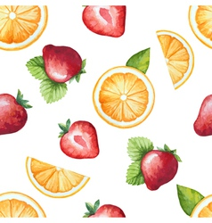Seamless pattern watercolor fruit strawberry and o vector image