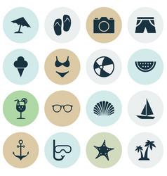 Season icons set collection video conch vector