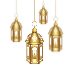 Set arabic golden lamps with light for islamic vector
