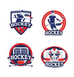 set hockey sport with professional equipment vector image