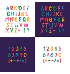 set of alphabet letters numbers and vector image