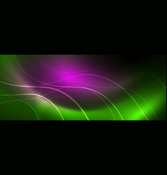 shiny neon lines template - northern lights vector image