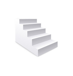 Side view white realistic stair and staircase vector