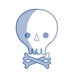 Silhouette skull with bones to danger and warning vector