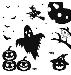 Silhouettes of pumpkin with face bats spiders vector