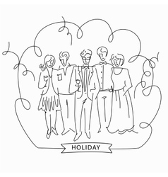 Sketch of a corporate party vector image