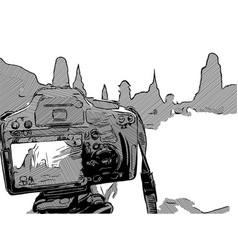 Sketch of camera dslr vector