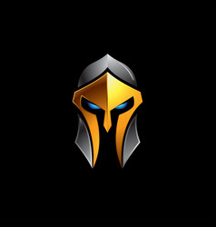 spartan helmet logo on black vector image