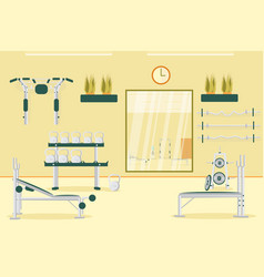Sport gym interior workout press and abs equipment vector