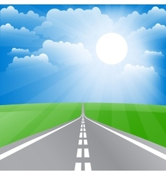 Spring landscape with road and sun vector