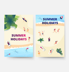 summer holidays flyers beach vacation serfing vector image
