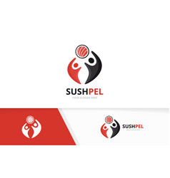 sushi and people logo combination japanese vector image