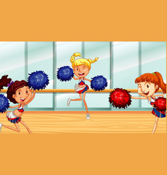 Three cheerleaders dancing in room vector