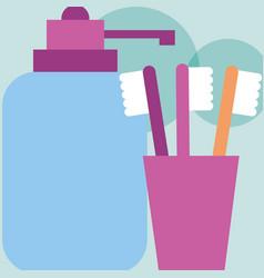 Toothbrushes dispenser liquid soap bathroom vector